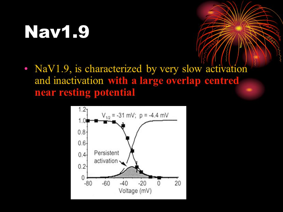 Nav1.9 NaV1.9, is characterized by very slow activation and inactivation with a large overlap centred near resting potential