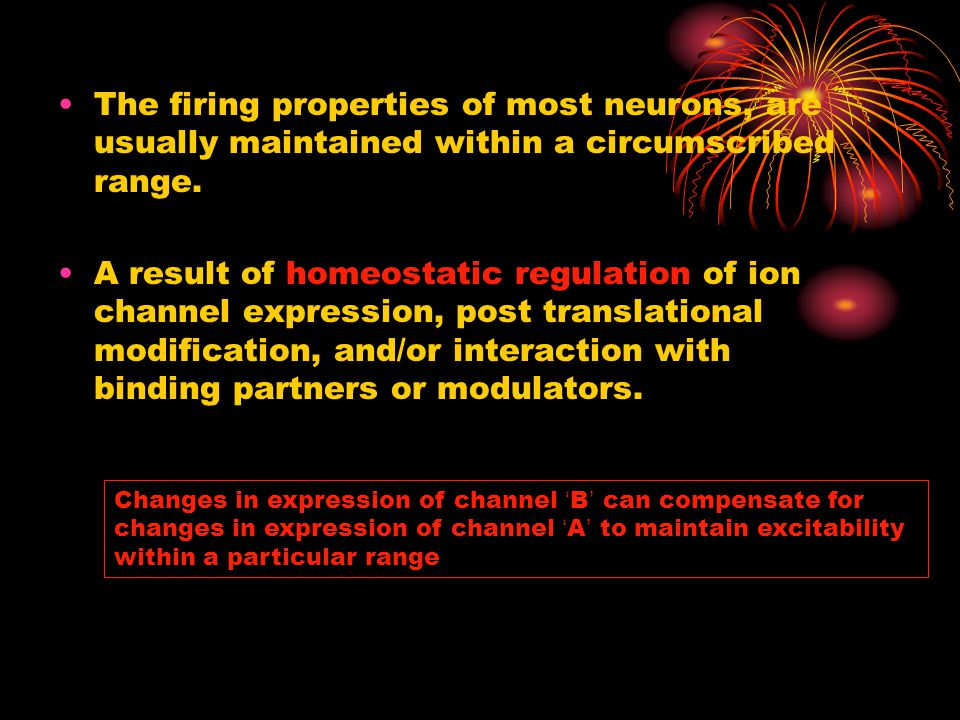 The firing properties of most neurons, are usually maintained within a circumscribed range. A result of homeostatic regulation of ion channel expressi