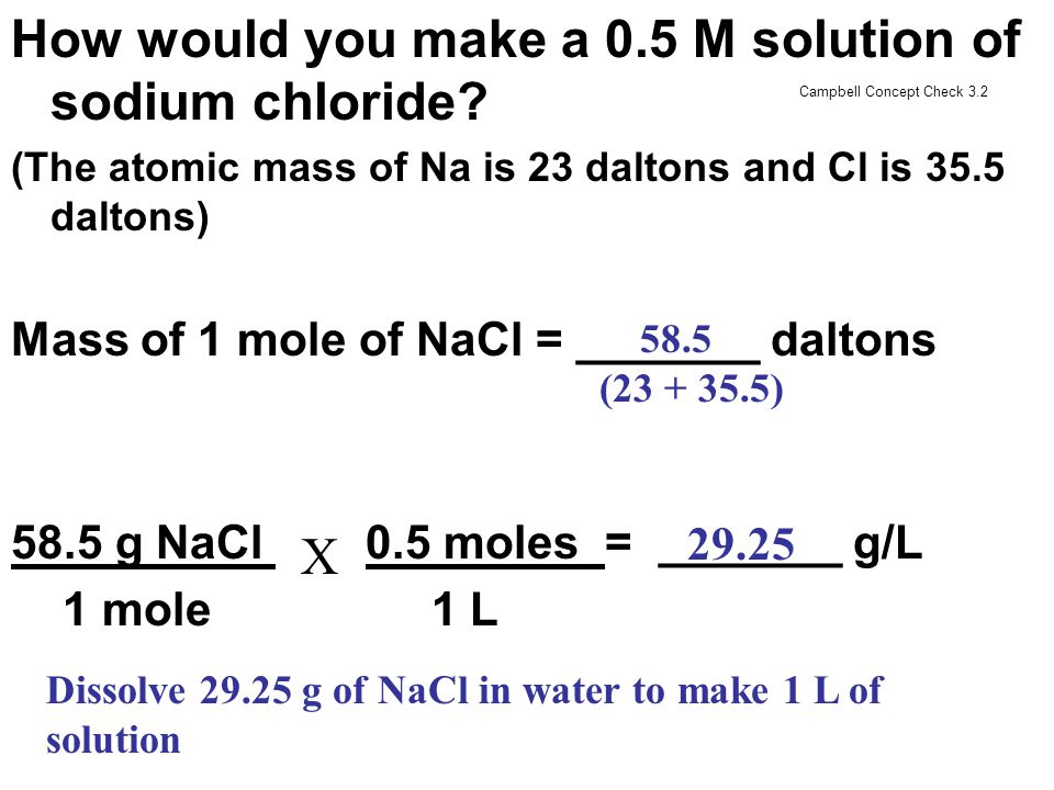 How would you make a 0.5 M solution of sodium chloride? (The atomic mass of Na is 23 daltons and Cl is 35.5 daltons) Mass of 1 mole of NaCl = _______