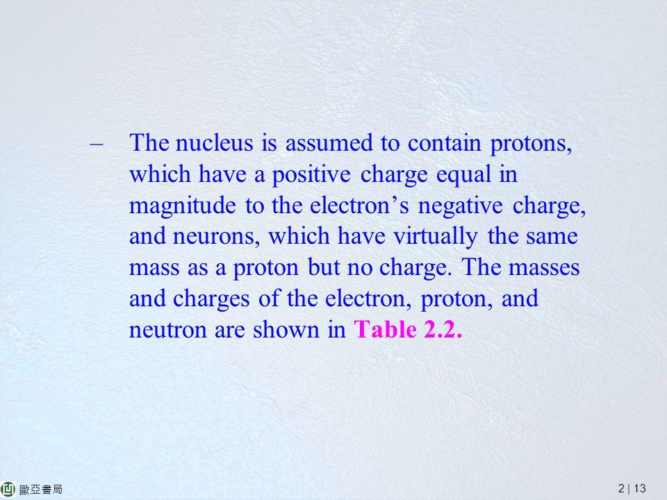 2 | 13 歐亞書局 –The nucleus is assumed to contain protons, which have a positive charge equal in magnitude to the electron's negative charge, and neurons, which have virtually the same mass as a proton but no charge.
