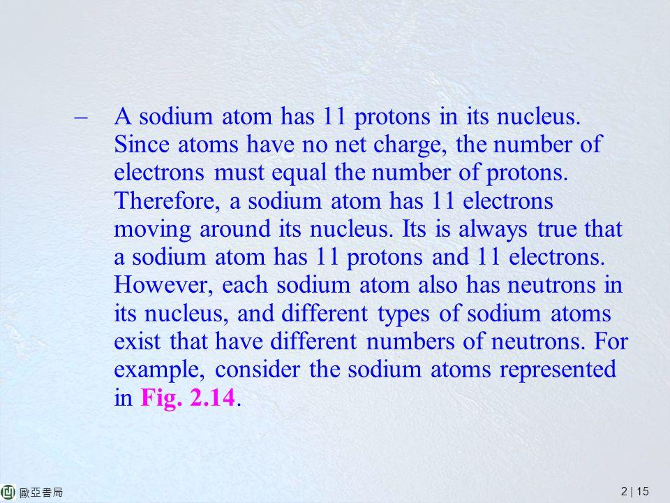 2 | 15 歐亞書局 –A sodium atom has 11 protons in its nucleus.