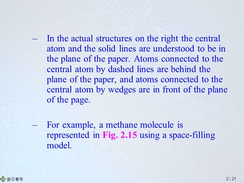 2 | 21 歐亞書局 –In the actual structures on the right the central atom and the solid lines are understood to be in the plane of the paper.