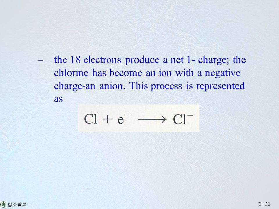 2 | 30 歐亞書局 –the 18 electrons produce a net 1- charge; the chlorine has become an ion with a negative charge-an anion.