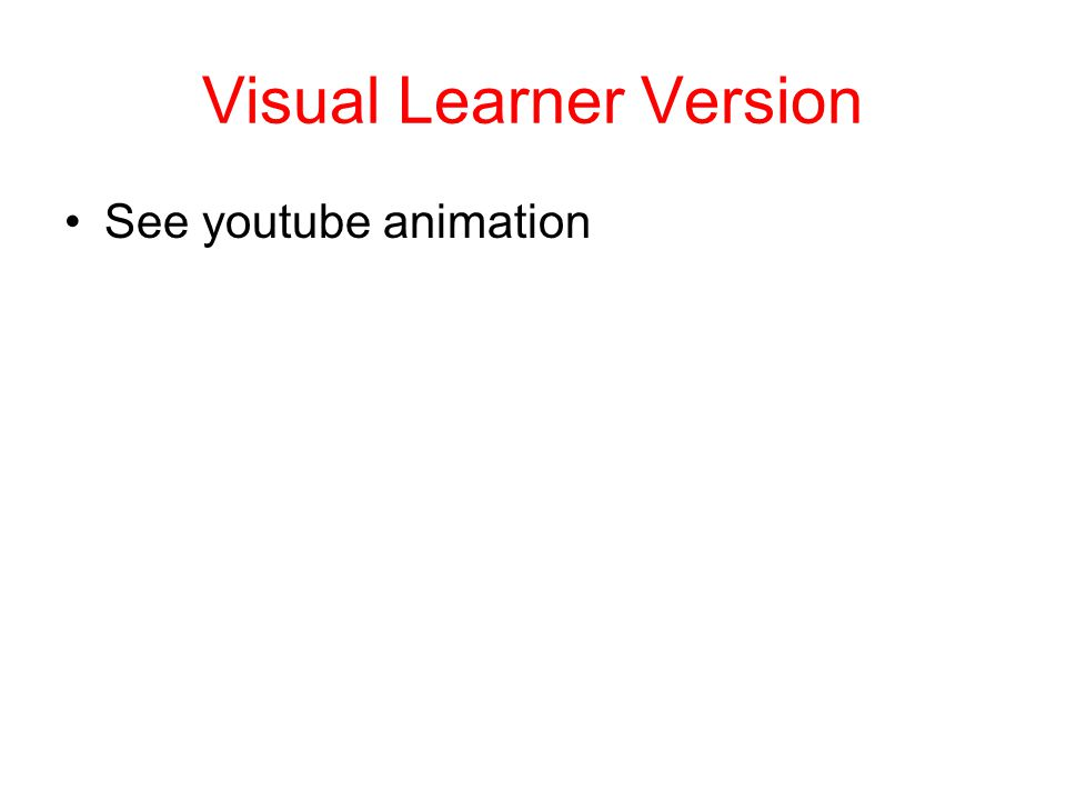 Visual Learner Version See youtube animation