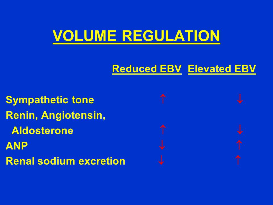 VOLUME REGULATION Reduced EBV Elevated EBV Sympathetic tone   Renin, Angiotensin, Aldosterone   ANP   Renal sodium excretion  