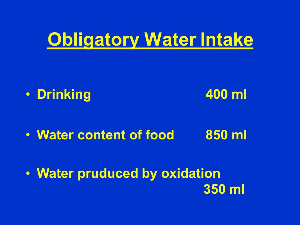 Obligatory Water Intake Drinking400 ml Water content of food850 ml Water pruduced by oxidation 350 ml