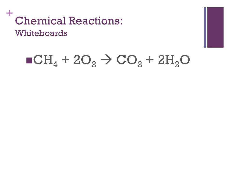 + Chemical Reactions: Whiteboards CH 4 + 2O 2  CO 2 + 2H 2 O