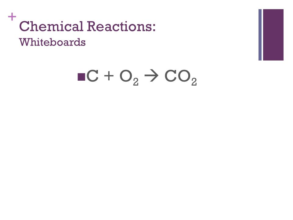 + Chemical Reactions: Whiteboards C + O 2  CO 2