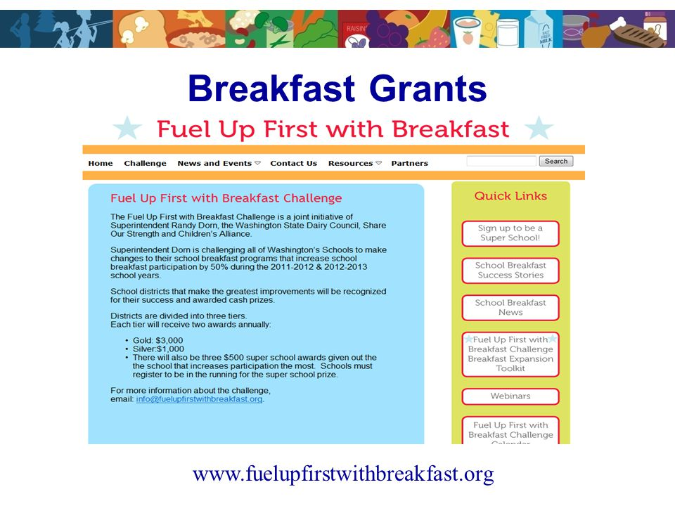 Breakfast Grants www.fuelupfirstwithbreakfast.org