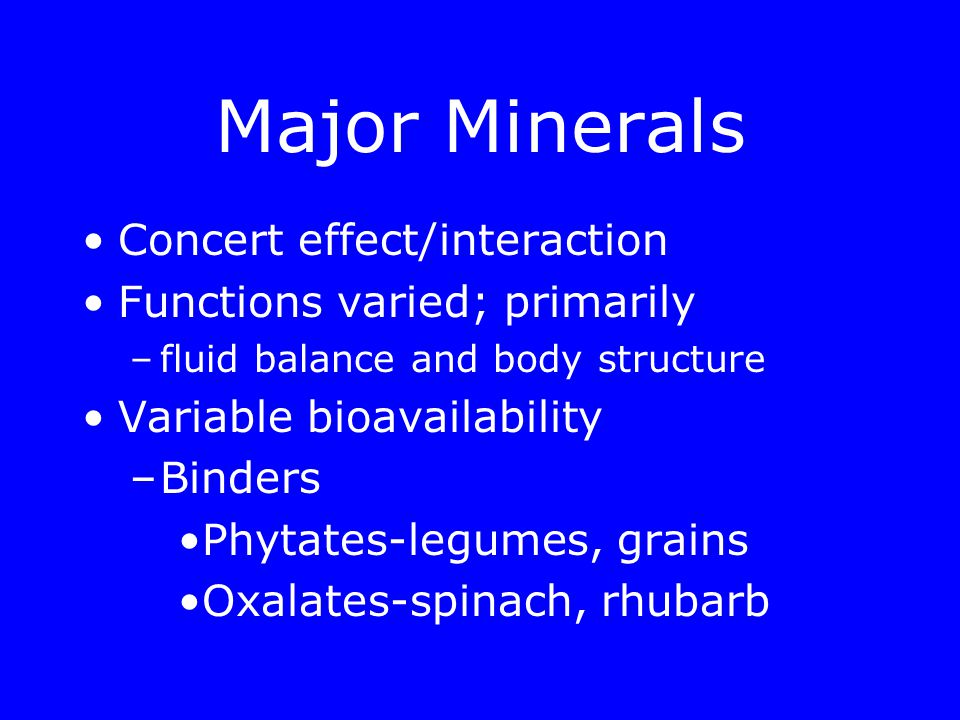 Objectives Define bioavailability Identify recommendations, upper limits for –Calcium, Potassium, Sodium Describe the functions of –Calcium, Potassium, Sodium Identify content of foods for –Calcium, Potassium, Sodium Identify sodium content of salt Describe how to reduce sodium intake