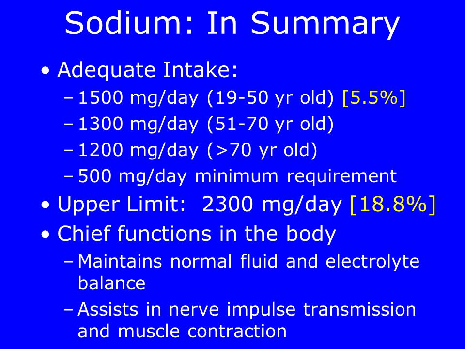 Sodium: In Summary Adequate Intake: –1500 mg/day (19-50 yr old) [5.5%] –1300 mg/day (51-70 yr old) –1200 mg/day (>70 yr old) –500 mg/day minimum requirement Upper Limit: 2300 mg/day [18.8%] Chief functions in the body –Maintains normal fluid and electrolyte balance –Assists in nerve impulse transmission and muscle contraction