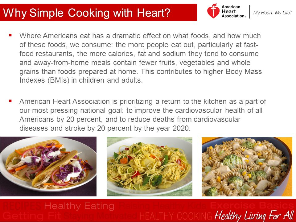 Why Simple Cooking with Heart?  Where Americans eat has a dramatic effect on what foods, and how much of these foods, we consume: the more people eat