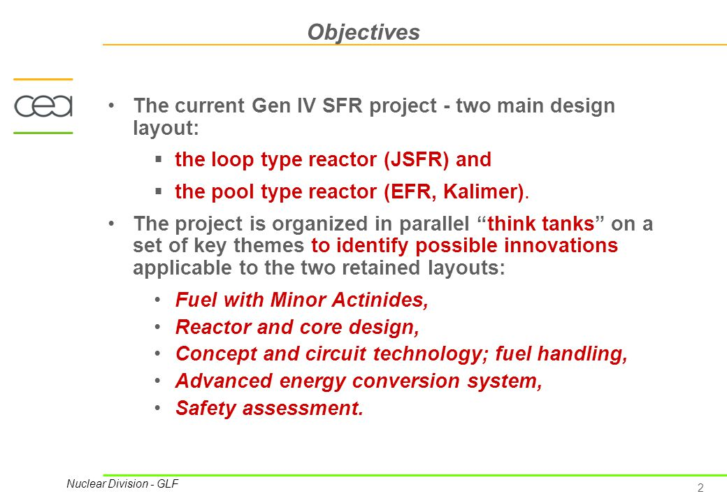 2 Nuclear Division - GLF Objectives The current Gen IV SFR project - two main design layout:  the loop type reactor (JSFR) and  the pool type reactor (EFR, Kalimer).