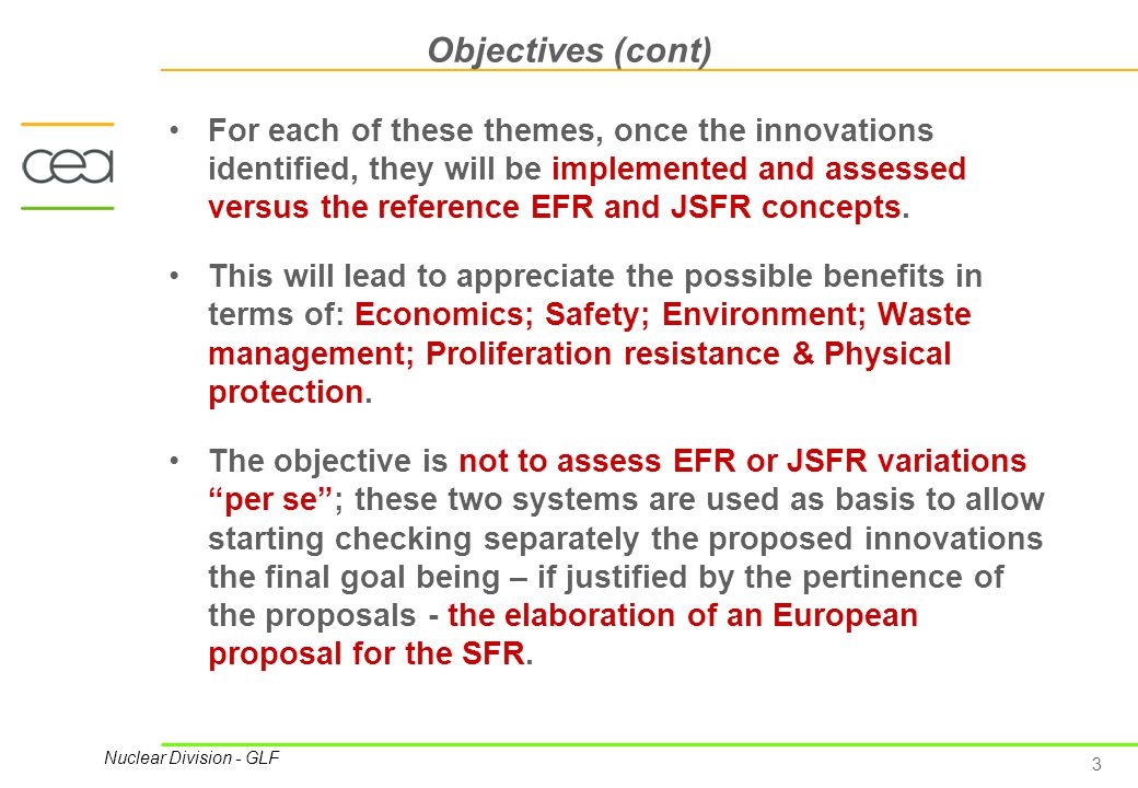 4 Nuclear Division - GLF The ECRA Project An analogous project has been conducted in France in the past.