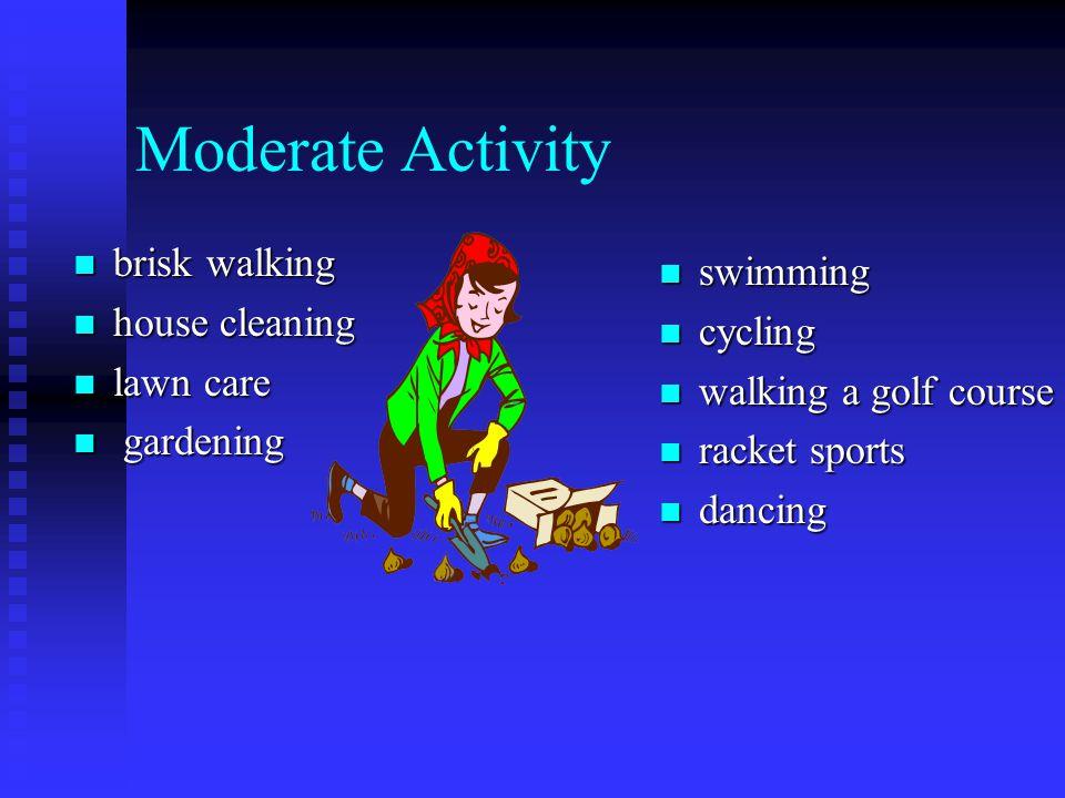 Moderate Activity brisk walking brisk walking house cleaning house cleaning lawn care lawn care gardening gardening swimming cycling walking a golf co