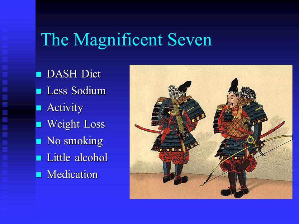 The Magnificent Seven DASH Diet DASH Diet Less Sodium Less Sodium Activity Activity Weight Loss Weight Loss No smoking No smoking Little alcohol Littl