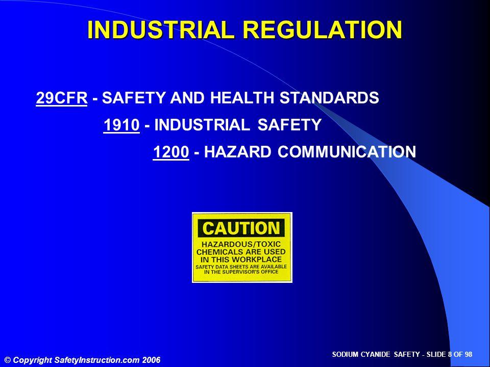 SODIUM CYANIDE SAFETY - SLIDE 8 OF 98 © Copyright SafetyInstruction.com 2006 29CFR - SAFETY AND HEALTH STANDARDS 1910 - INDUSTRIAL SAFETY 1200 - HAZAR