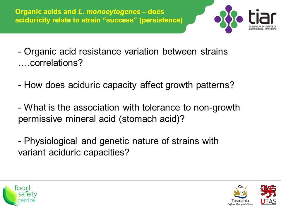 - Organic acid resistance variation between strains ….correlations.