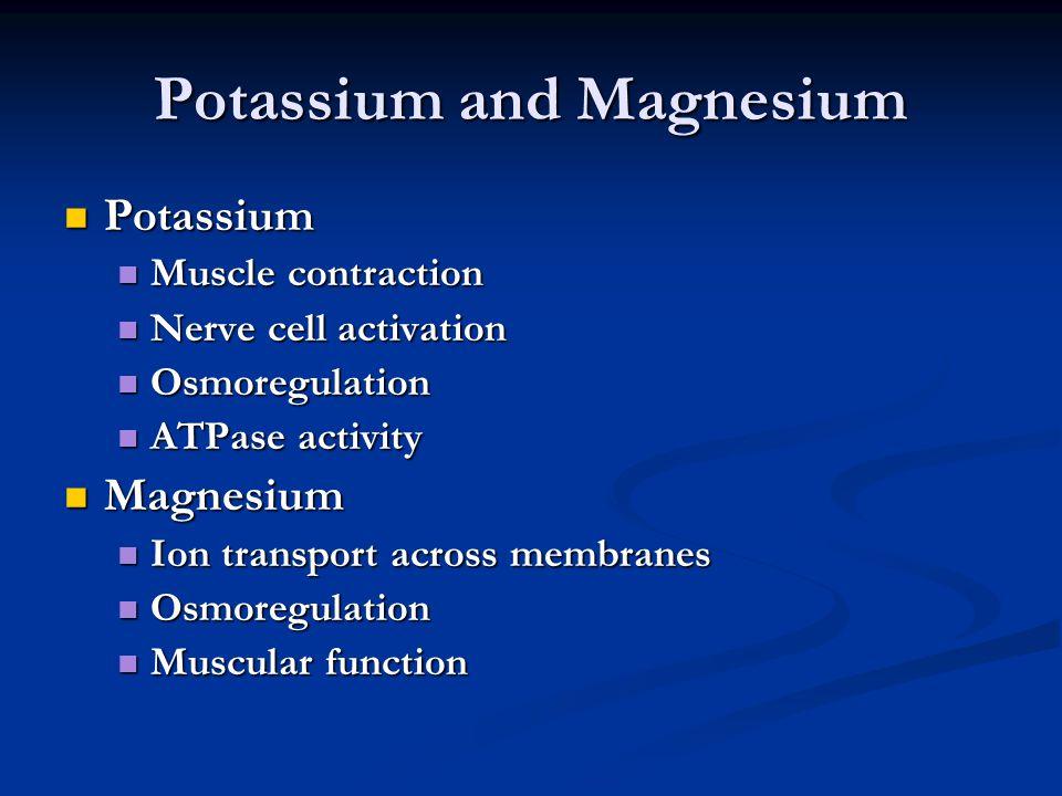 Potassium Potassium Muscle contraction Muscle contraction Nerve cell activation Nerve cell activation Osmoregulation Osmoregulation ATPase activity AT