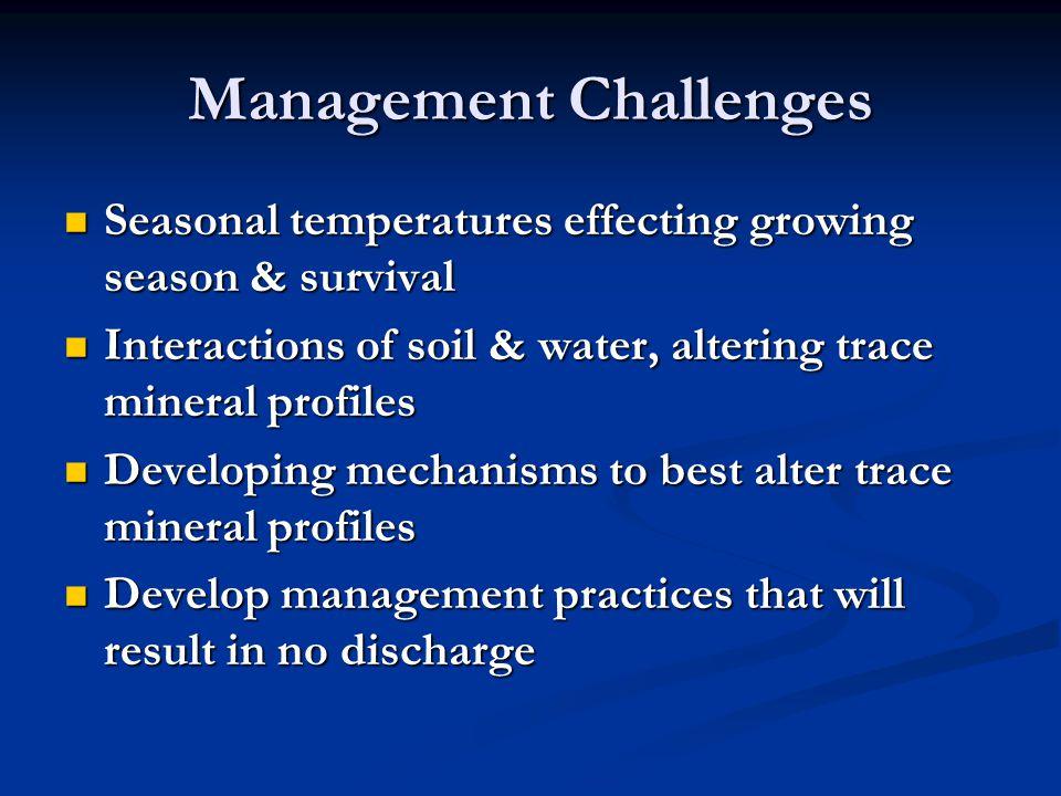 Management Challenges Seasonal temperatures effecting growing season & survival Seasonal temperatures effecting growing season & survival Interactions