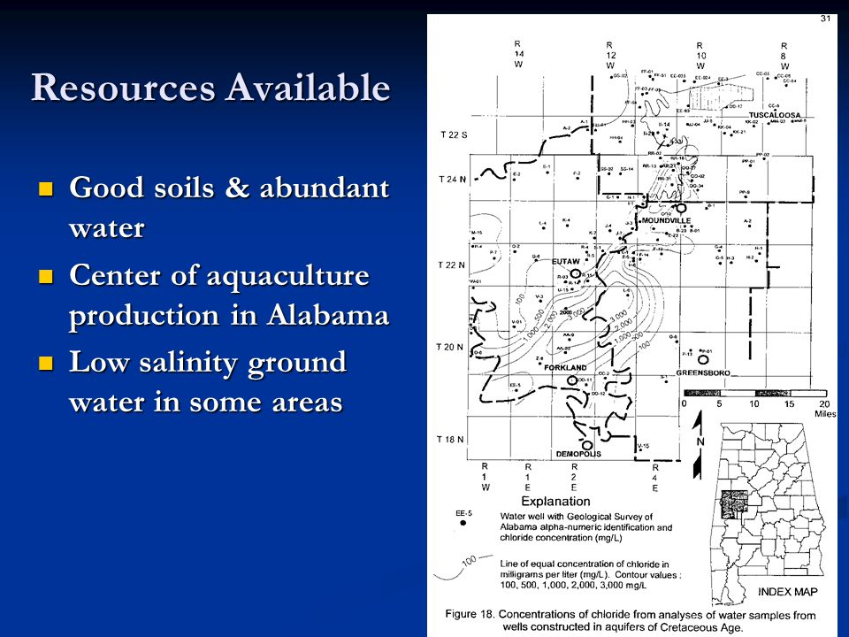 Saline ground water in many areas of Black Belt Wells in Green Co.