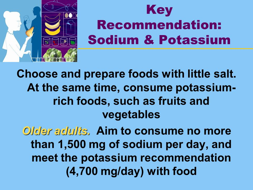 Key Recommendation: Sodium & Potassium Choose and prepare foods with little salt.