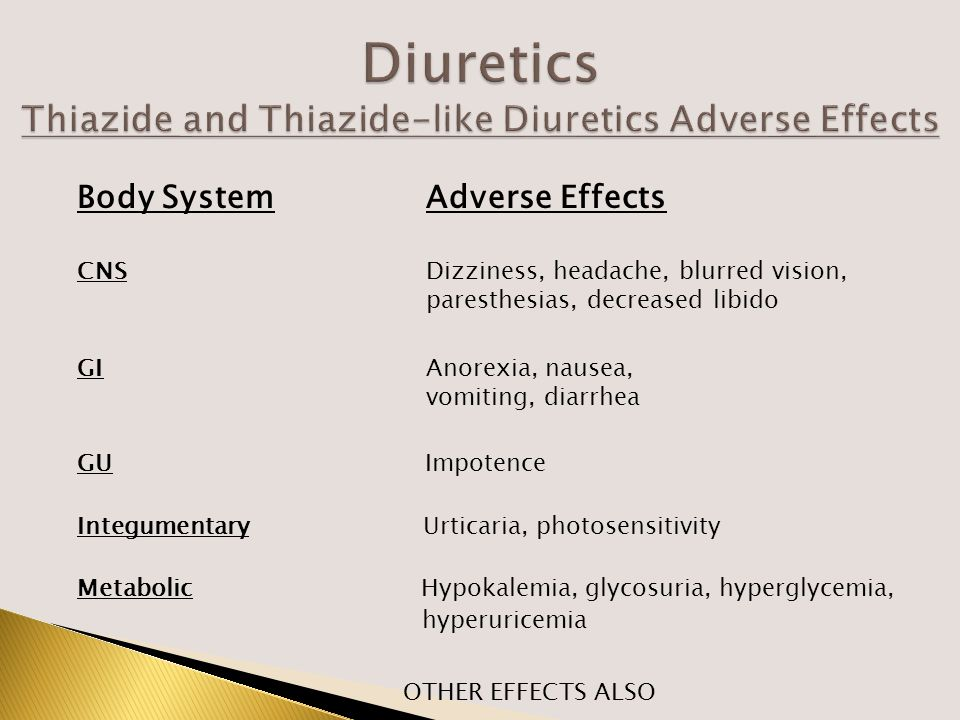 Body SystemAdverse Effects CNSDizziness, headache, blurred vision, paresthesias, decreased libido GIAnorexia, nausea, vomiting, diarrhea GU Impotence Integumentary Urticaria, photosensitivity Metabolic Hypokalemia, glycosuria, hyperglycemia, hyperuricemia OTHER EFFECTS ALSO
