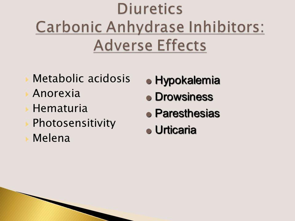  Metabolic acidosis  Anorexia  Hematuria  Photosensitivity  Melena  Hypokalemia  Drowsiness  Paresthesias  Urticaria