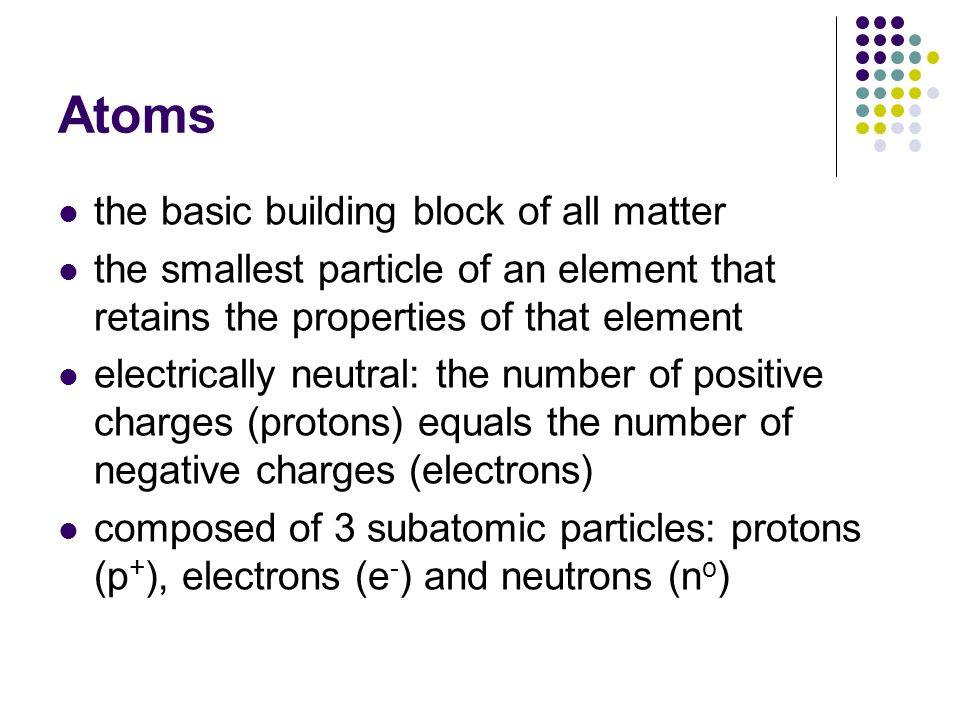 Atoms the basic building block of all matter the smallest particle of an element that retains the properties of that element electrically neutral: the number of positive charges (protons) equals the number of negative charges (electrons) composed of 3 subatomic particles: protons (p + ), electrons (e - ) and neutrons (n o )