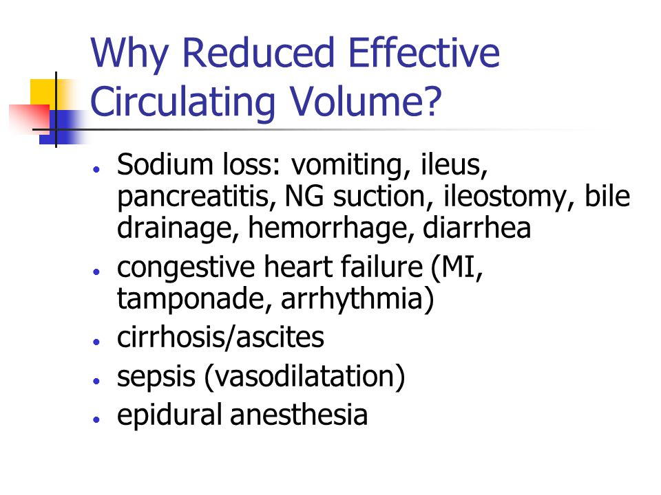 Why Reduced Effective Circulating Volume.