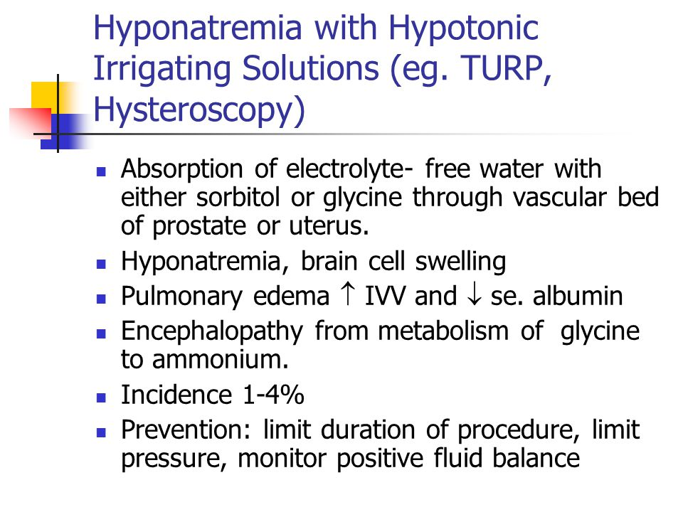 Hyponatremia with Hypotonic Irrigating Solutions (eg.