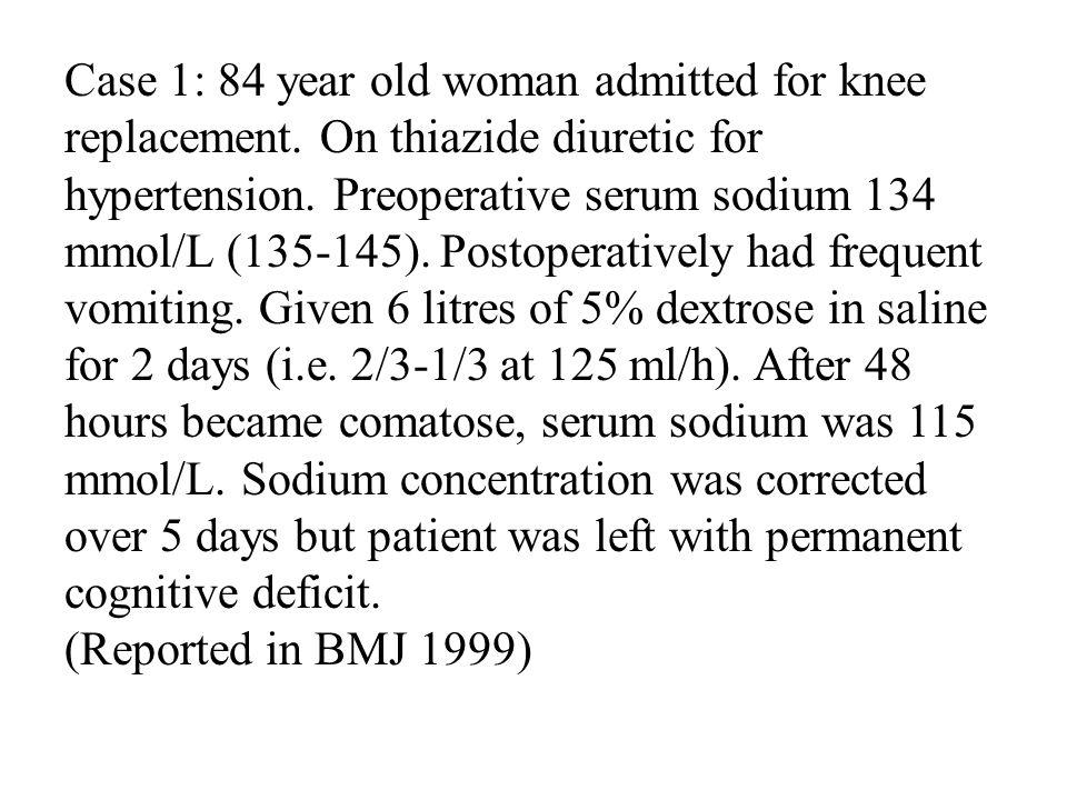 Case 1: 84 year old woman admitted for knee replacement.
