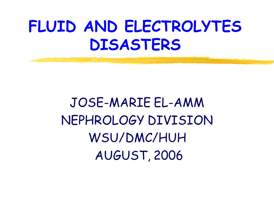 FLUID AND ELECTROLYTES DISASTERS JOSE-MARIE EL-AMM NEPHROLOGY DIVISION WSU/DMC/HUH AUGUST, 2006