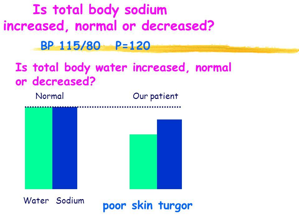 Is total body water increased, normal or decreased? poor skin turgor Water Sodium NormalOur patient Is total body sodium increased, normal or decrease