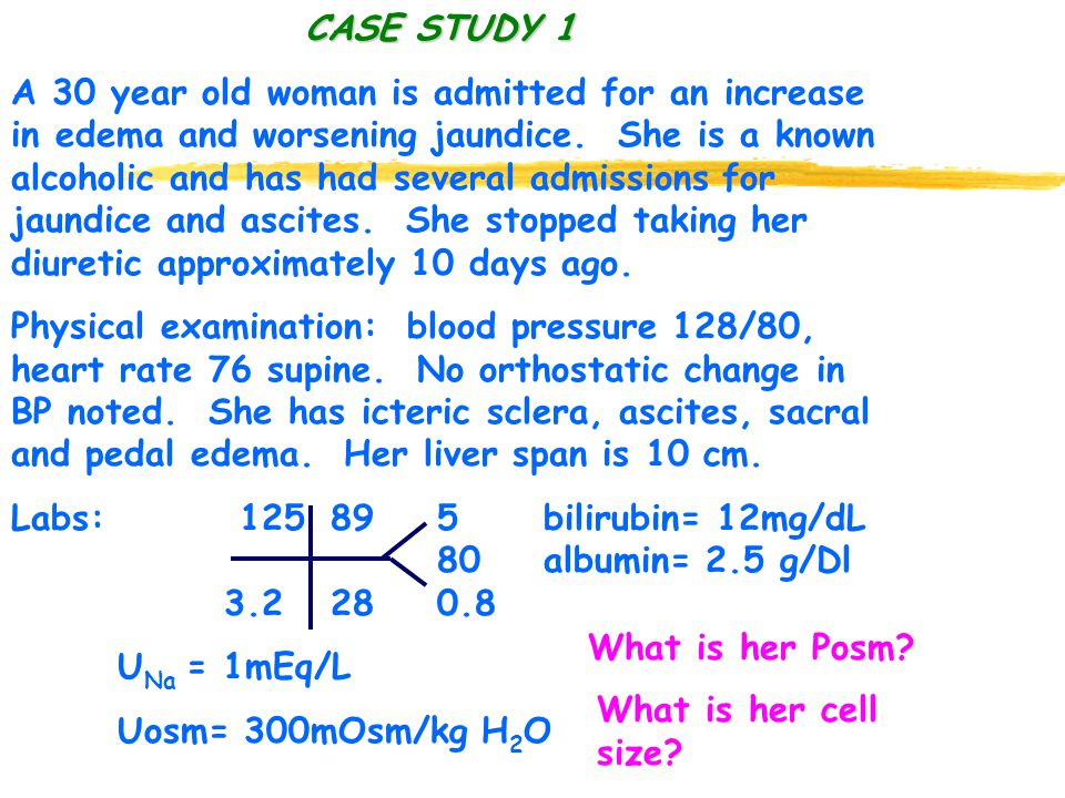 CASE STUDY 1 CASE STUDY 1 A 30 year old woman is admitted for an increase in edema and worsening jaundice.