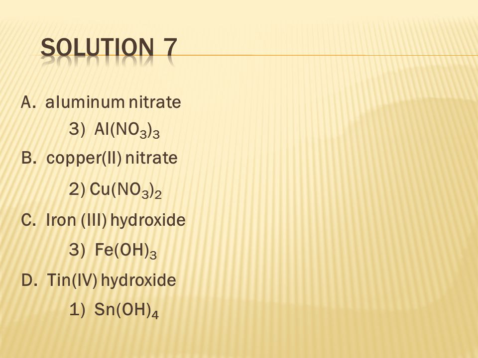 A. aluminum nitrate 3) Al(NO 3 ) 3 B. copper(II) nitrate 2) Cu(NO 3 ) 2 C.