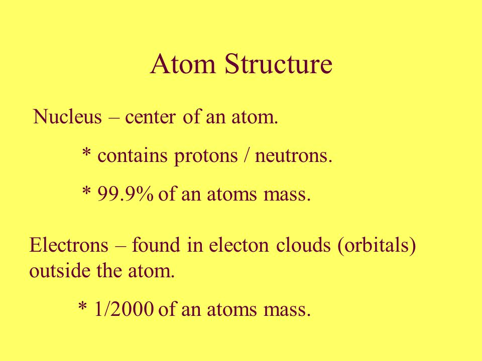 Atom Structure Nucleus – center of an atom. * contains protons / neutrons.