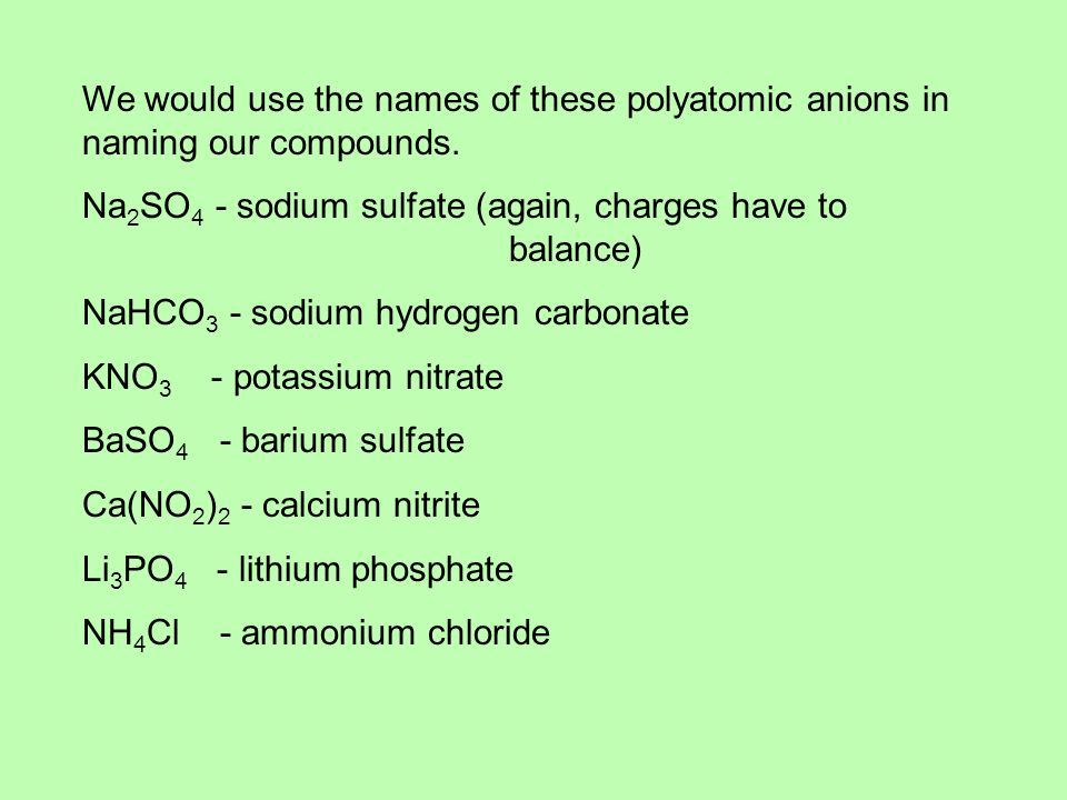 We would use the names of these polyatomic anions in naming our compounds.
