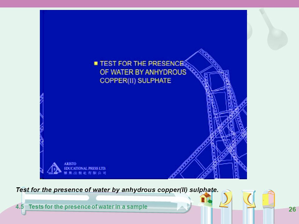 25 Figure 4.18 Water turns white anhydrous copper(II) sulphate blue. 4.5 Tests for the presence of water in a sample anhydrous copper(ll) sulphate wat