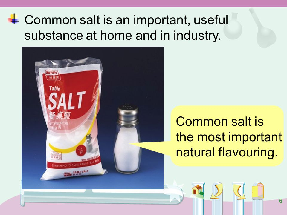 6 Common salt is the most important natural flavouring.