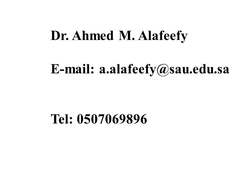 Dr. Ahmed M. Alafeefy E-mail: a.alafeefy@sau.edu.sa Tel: 0507069896
