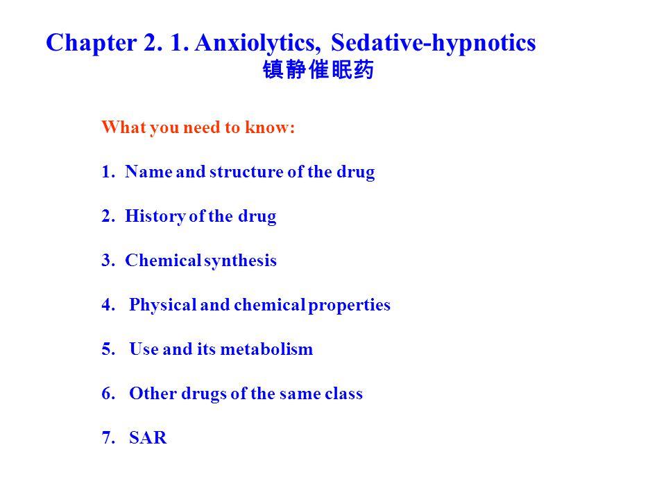Chapter 2. 1. Anxiolytics, Sedative-hypnotics 镇静催眠药 What you need to know: 1.