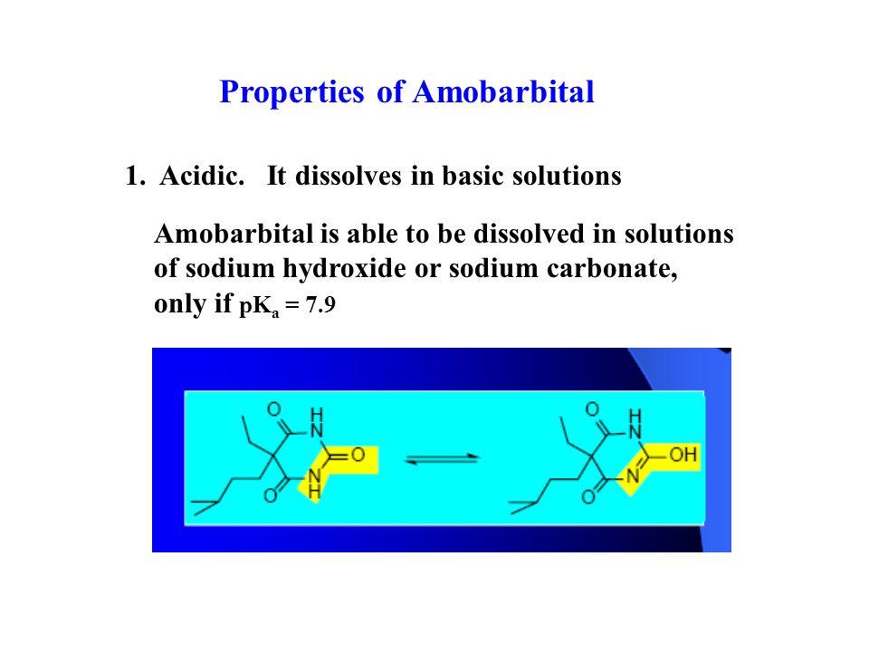 Properties of Amobarbital 1. Acidic.