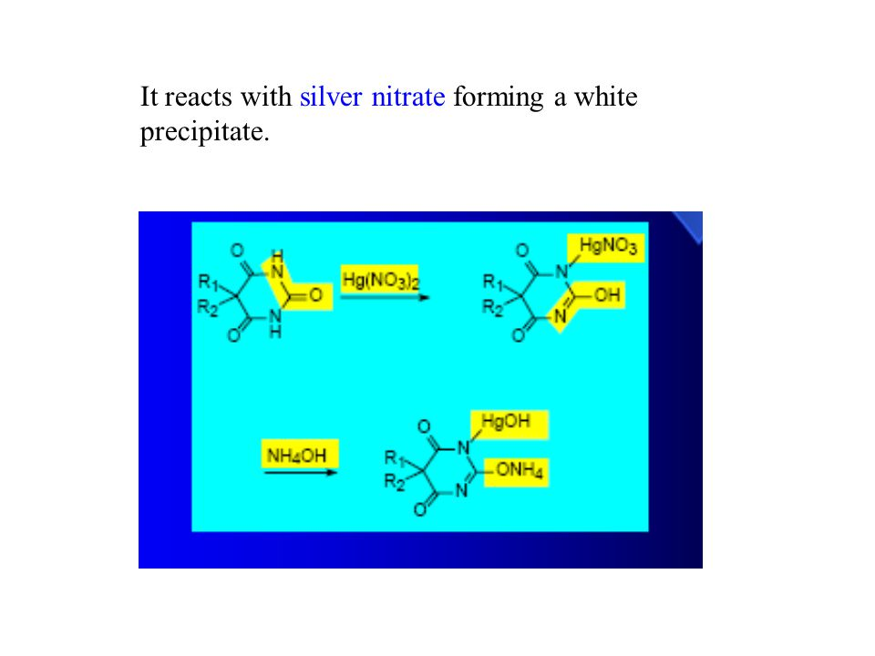 It reacts with silver nitrate forming a white precipitate.