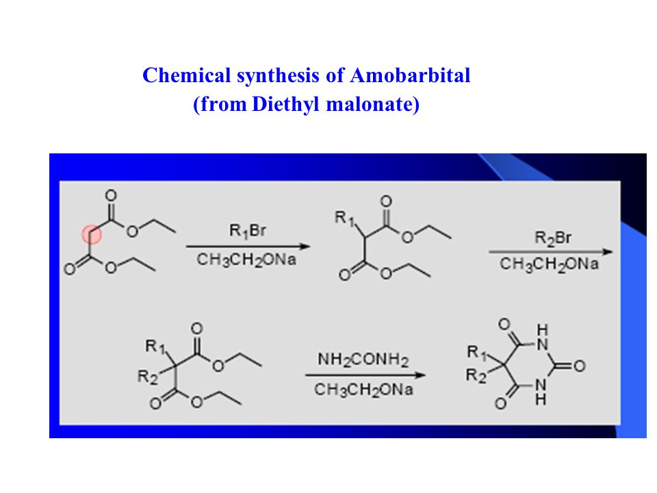 Chemical synthesis of Amobarbital (from Diethyl malonate)
