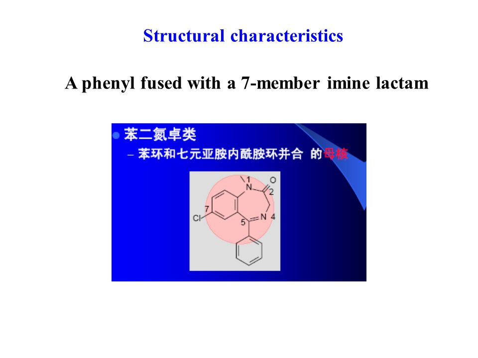 Structural characteristics A phenyl fused with a 7-member imine lactam