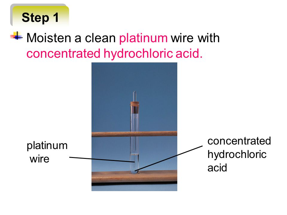 Step 1 platinum wire concentrated hydrochloric acid Moisten a clean platinum wire with concentrated hydrochloric acid.