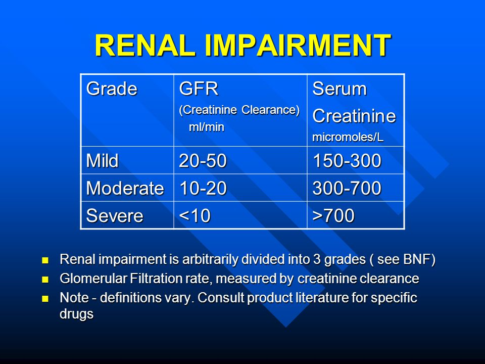 RENAL IMPAIRMENT Renal impairment is arbitrarily divided into 3 grades ( see BNF) Renal impairment is arbitrarily divided into 3 grades ( see BNF) Glo