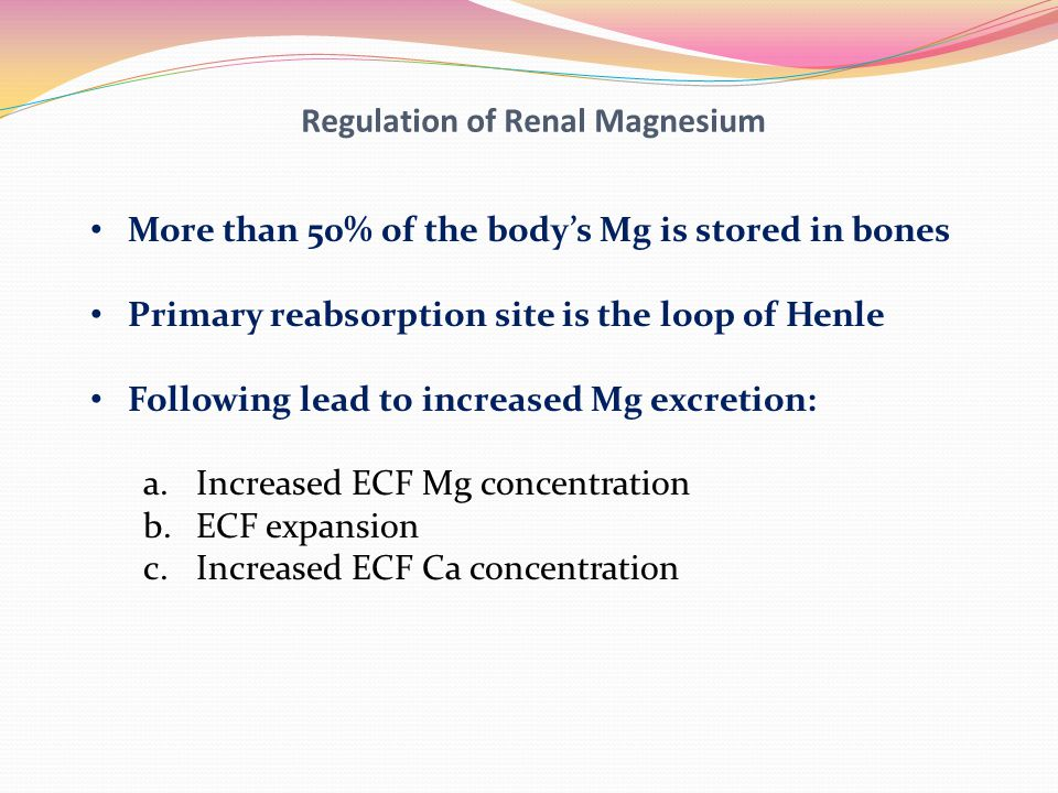 Regulation of Renal Magnesium More than 50% of the body's Mg is stored in bones Primary reabsorption site is the loop of Henle Following lead to incre