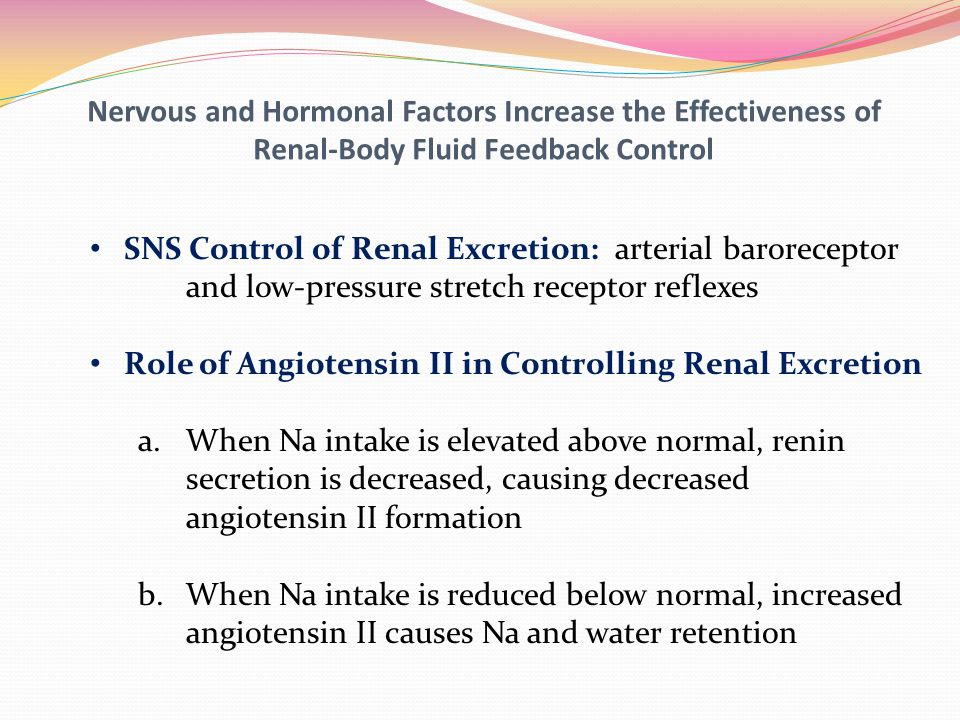 Nervous and Hormonal Factors Increase the Effectiveness of Renal-Body Fluid Feedback Control SNS Control of Renal Excretion: arterial baroreceptor and